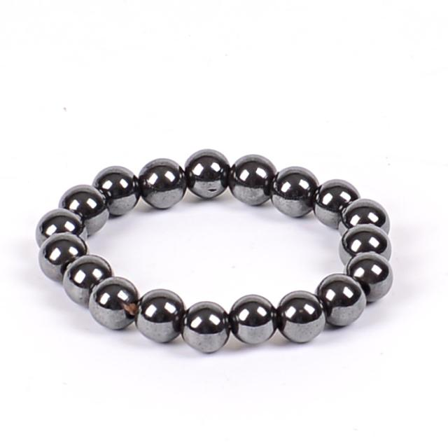 Women Black 6 8 10 Cool Magnetic Bracelet Beads Hematite Stone Therapy Health Care Magnet Hematite