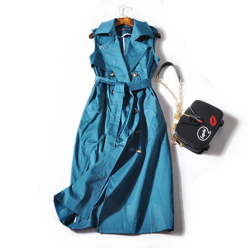 Color Hiver 2018 Blue Manches Apricot Sans peacock Élégant Breasted Casual Pour Kaki Manteau Femmes Manteaux Double Survêtement Outwear Automne Sash Tranchée UBBqn1pwZ