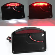 Motorcycle LED Tail Brake Light Side Mounted License Plate Assembly Black