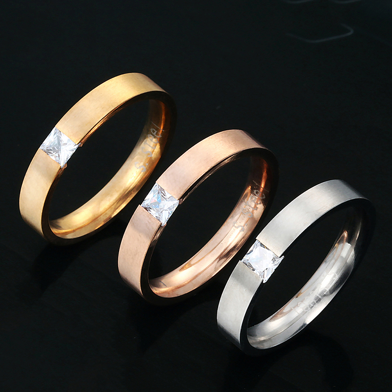 New Fashion CZ Stone Engagement Ring 316L Stainless Steel Lovers Promise Ring For Women Copule Ring