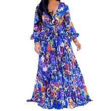 Autumn Vintage Maxi Dress Elegant Deep V-neck Long Sleeve Chiffon Loose Women Frete Gratis Para Brasil Vestidos Clothing