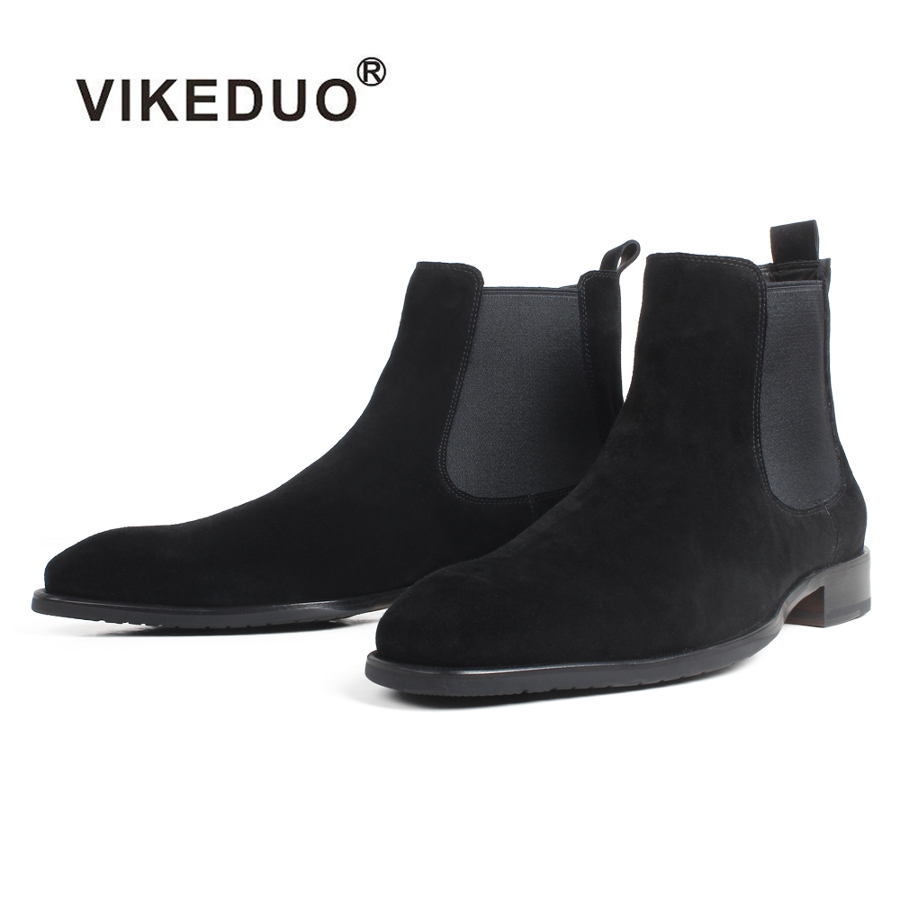 VIKEDUO 2019 Autumn New Fashion Cow Suede Flat Chelsea Boots For Men Black Slip-On Lining Handmade Driving Hombre