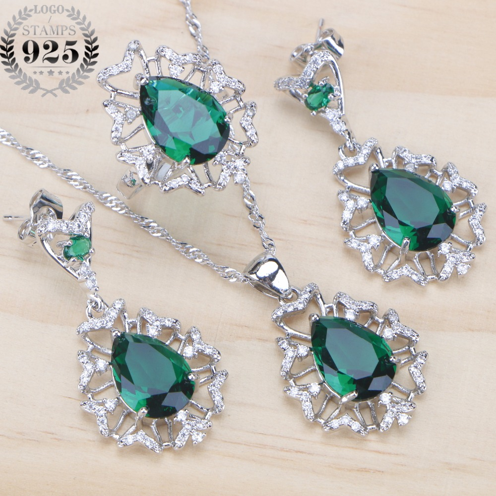 Green CZ Rhinestone Wedding Silver 925 Jewelry Sets Pendants&Necklaces Earrings Ring For Women Dubai Jewelery Set Free Gift Box