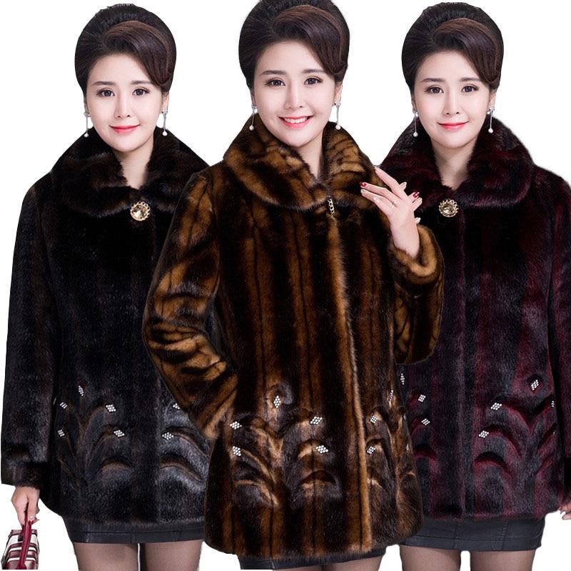 2020 Winter Women s Fur Coat Faux Mink Fur Jackets Plus size 5XL Middle aged Female Innrech Market.com