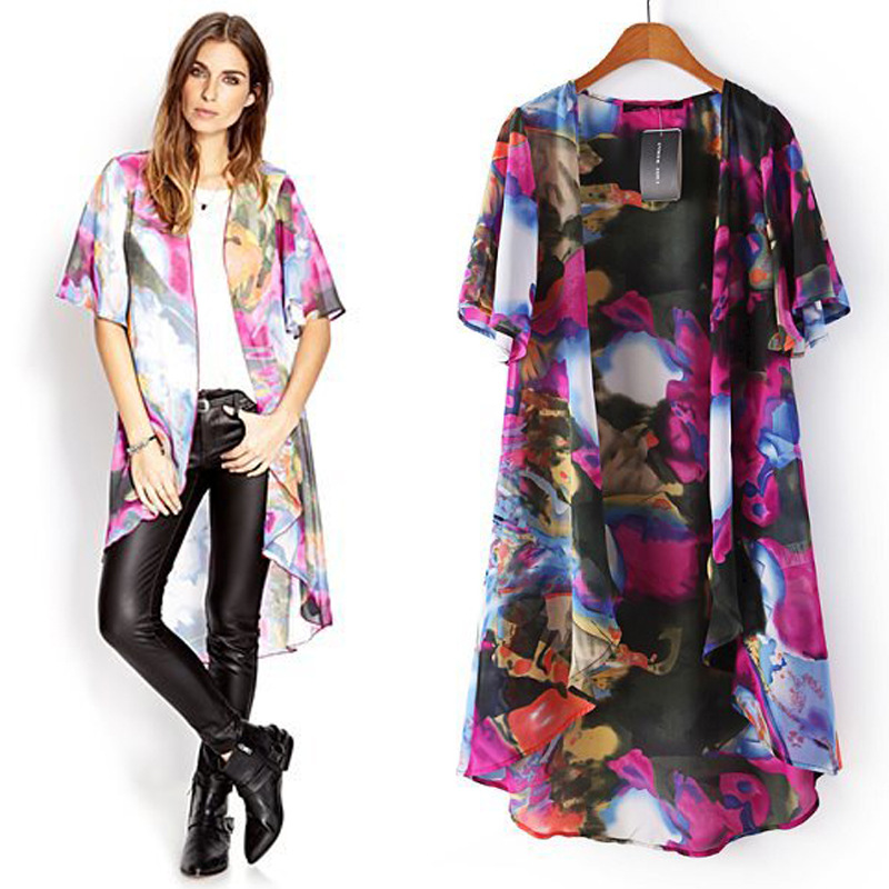 floral print long kimono cardigan gown women's coats 2016 summer ...