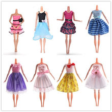 1pcs High Quality Fashion Denim Skirt Clothing Doll Accessories White Pink Bow Wave Dress For Doll Fast Shipping(China)