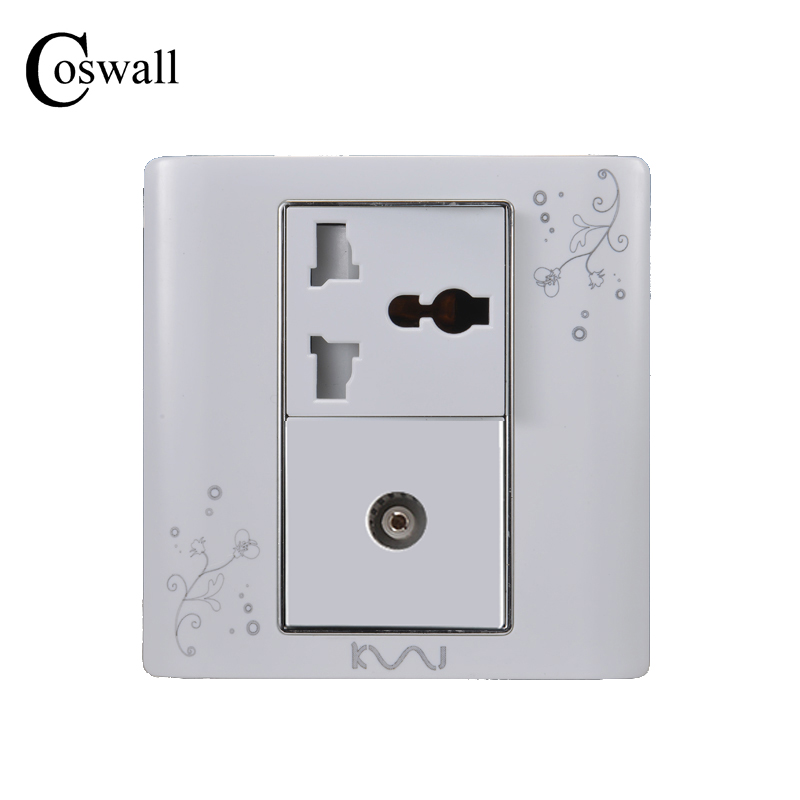 COSWALL Luxury Wall Electrical Socket, Universal 3 Hole Power Outlet With Single TV Socket