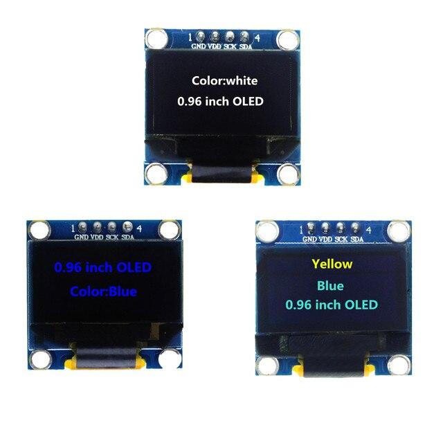 0.96 pouces 128X64 bleu/blanc/jaune bleu OLED Module d'affichage IIC communiquer pour kit de bricolage arduino