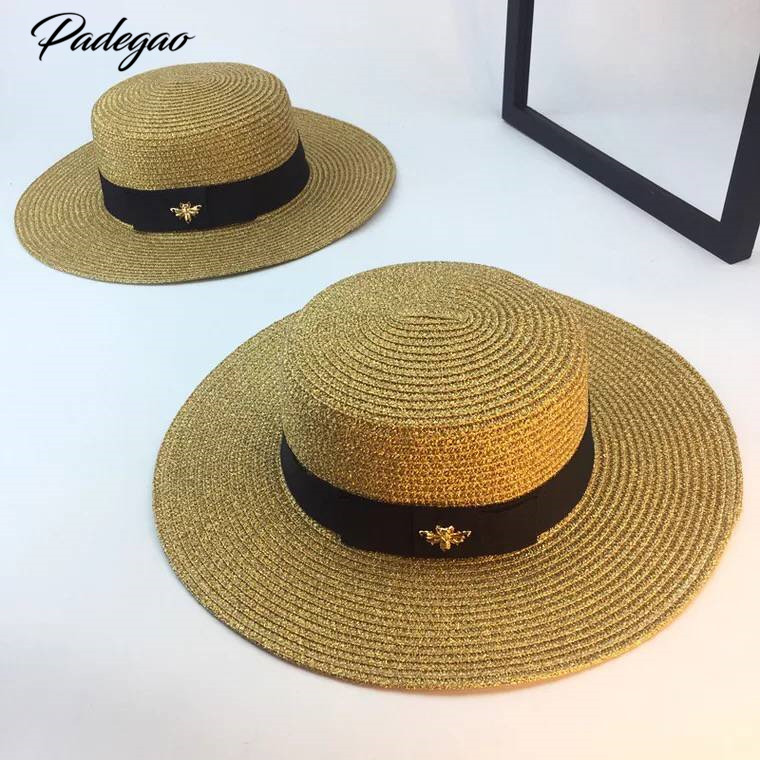 Spring and summer new retro gold braided flat head straw hat lady wide eaves sunscreen sun hat  summer hat cap (China)