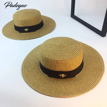 Spring and summer new retro gold braided flat head straw hat lady wide eaves sunscreen sun hat summer hat cap