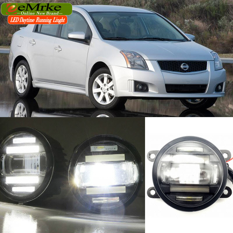 EEMRKE Car Styling for Nissan Sentra B16 2006-2012 2 in 1 Double LED DRL Cut-line Lens Fog Lights Daytime Running Lights jgrt 2011 for nissan sentra fog lights led drl turnsignal lights car styling led daytime running lights led fog lamps