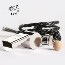 North Wolf Outdoor Survival Whistle Metal High Volume Laser Engraving Electroplating Polished Free Lanyard