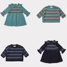 Kids Clothing Set 2018 Winter Caramel BOBO CHOSES Girls Dress Baby Boy Knitted Jumper Sweater Baby Child Clothes Trousers Pants(China)