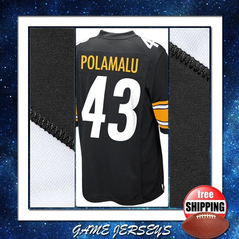 pretty nice 6d4fe 8e882 US $34.99  2015 #43 Troy Polamalu Jersey in Black Mens Game Sport Gear 100%  Stitched American Football Jersey Size S M L XL XXL XXXL-in America ...