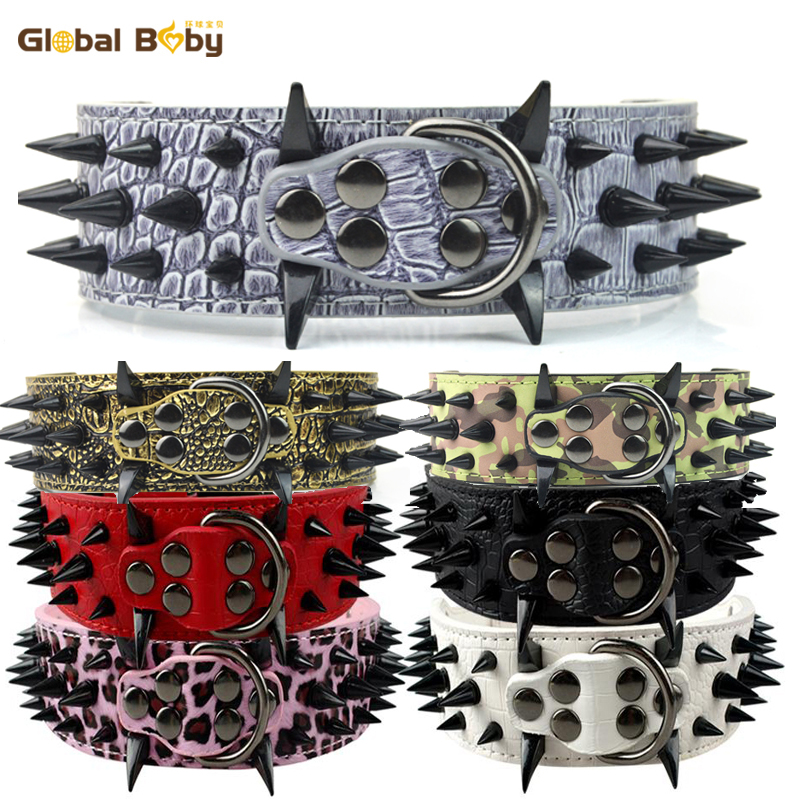 High Leather Sharp Black Spikes Medium Large Dog Pet Pitbull Collar and Matched Genuine Leather Leashes Lead