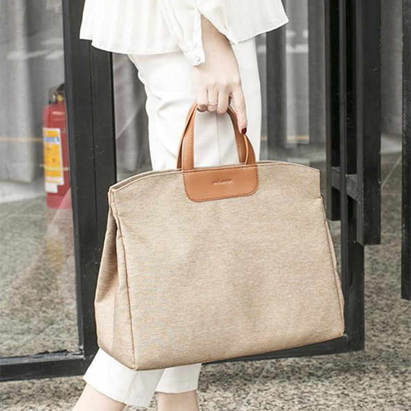"Super Large Capacity Women's Briefcase Korean Canvas A4 Document Office Bag for Women Mom 15"" laptop Bags Shoulder Messenger bag"
