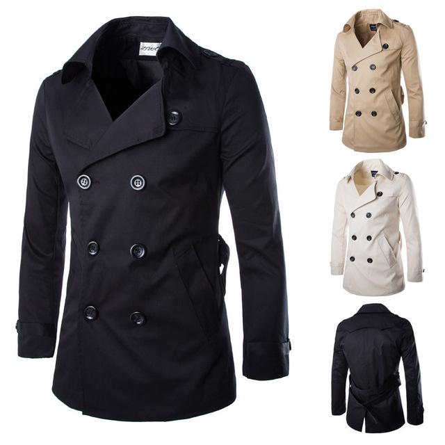 Envío gratis nuevos hombres con estilo doble de pecho kong abrigos para hombre de trincheras abrigo rompevientos 3 colores Ml XL XXL