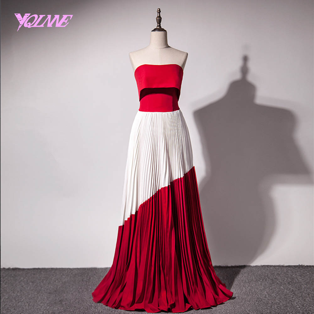 Red Fashion: YQLNNE 2018 Fashion Red Splice White Strapless Evening