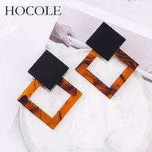 HOCOLE Korean Temperament Hollow Square Blooming Drop Earrings Coffee Gray Geometry Acrylic Pendientes For Women Wedding Jewelry