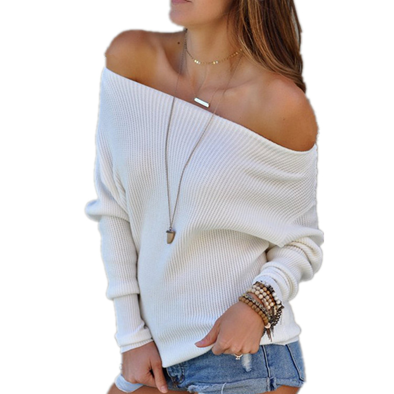 Shoulder Sweater Tops Warm Pullover Slash Long-Sleeve Loose Pull-Off Winter Knitted Sexy