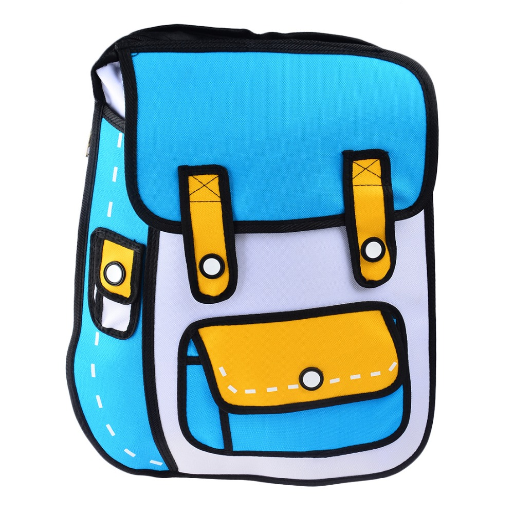 New 3D Jump Style 2D Drawing Cartoon Paper Bag Comic Backpack Messenger Tote Fashion Cute Student Bags Unisex mochila Bolos