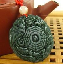 100% Real Natural HeTian Jade Colgantes tallados a mano Chino Dragon Phoenix Ocho Diagramas de Jade Verde colgante de collar