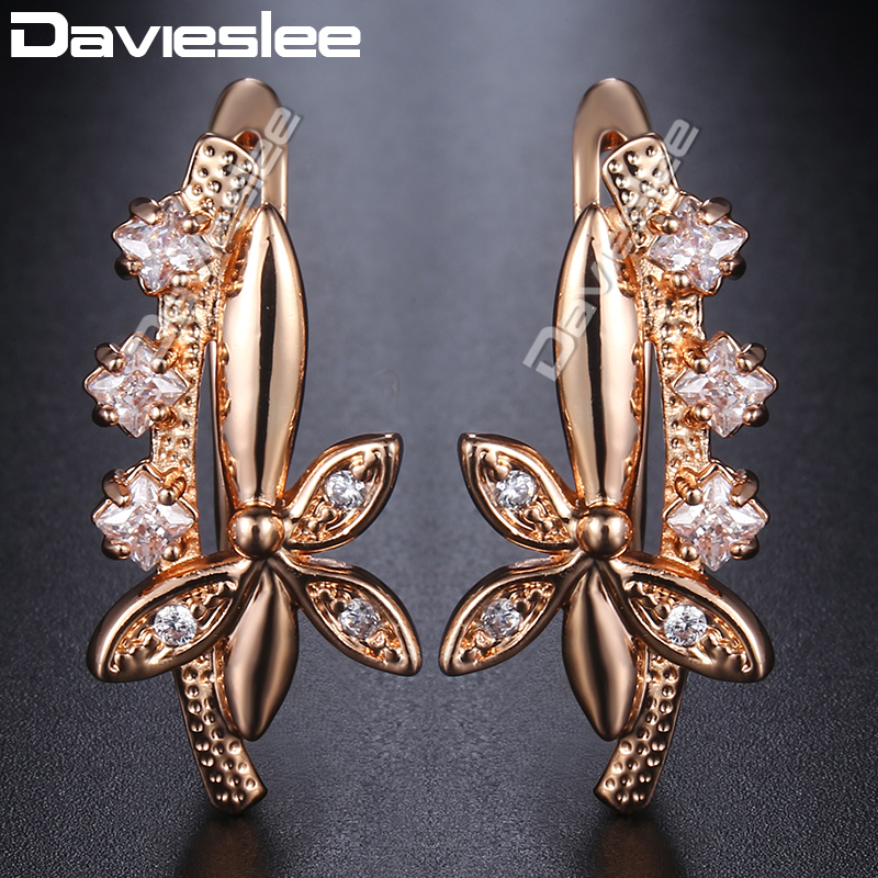 Davieslee 585 Rose Gold Filled Earrings For Women Flower Shaped Paved Clear CZ Stud Earrings Fashion Jewelry Best Gift DGE171