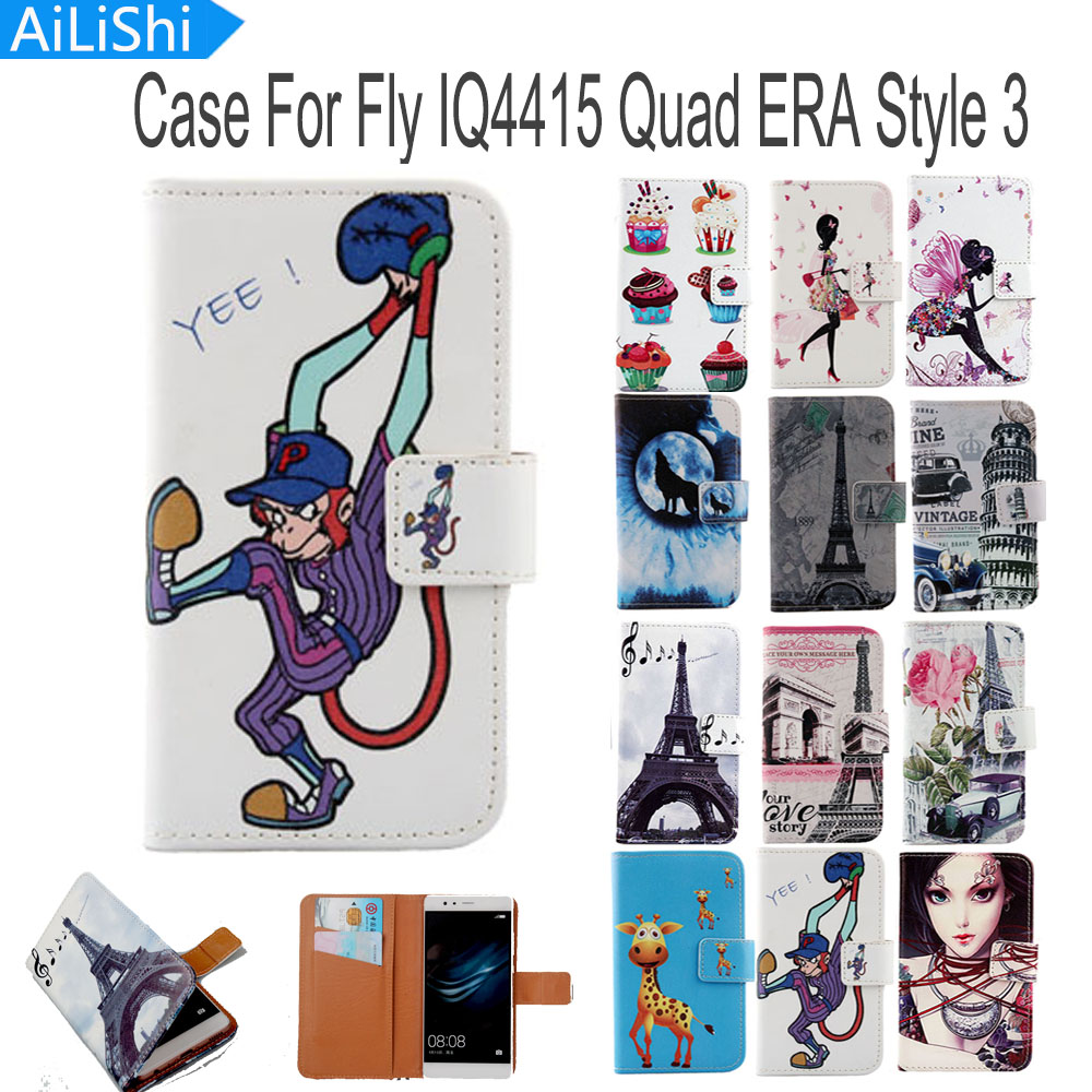 AiLiShi Flip PU Leather Case For Fly IQ4415 Quad ERA Style 3 Case Book Style Cartoon Painted Protective Cover Skin In Stock
