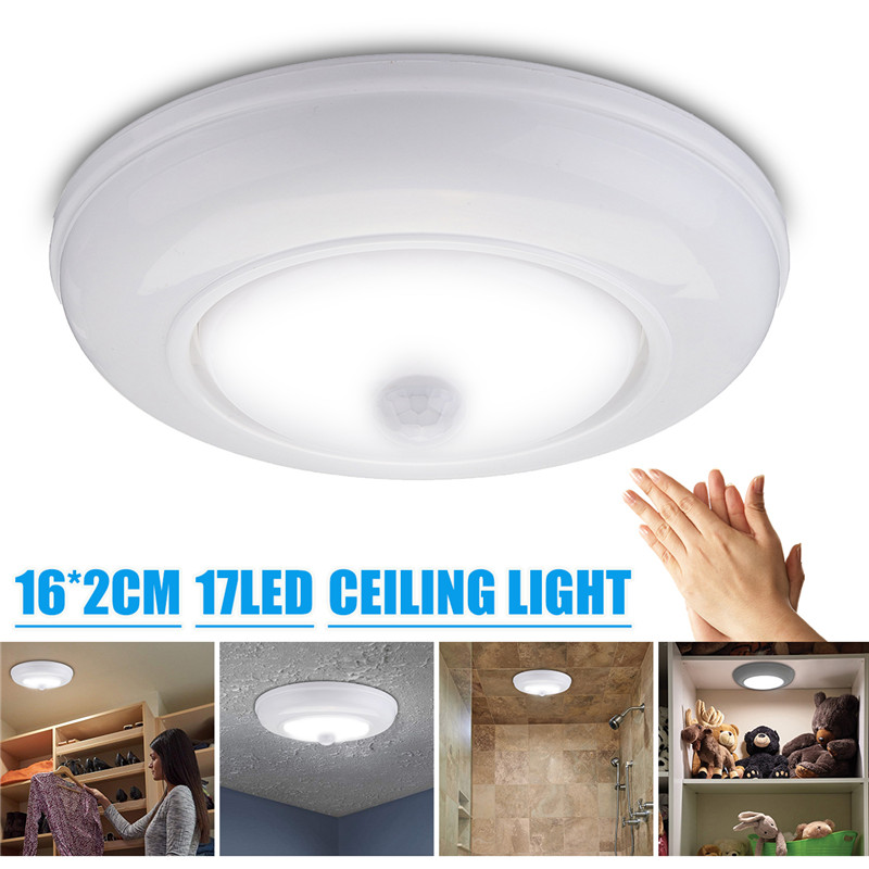 DC6V Wireless Battery Powered Automatic Motion Sensor LED Ceiling Light Cabinet Lamp 3W Pure White Lighting