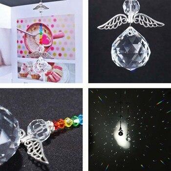 Хрустальные бусины в форме чакры H & D с подвеской в виде ангела-хранителя, висячие украшения для окна, радужные свадебные подарки