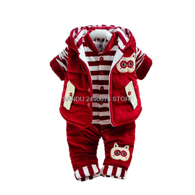 2018 зимний комплект одежды для новорожденных мальчиков и девочек, детская фланелевая одежда с хлопковой подкладкой, 3 предмета, детская тепл