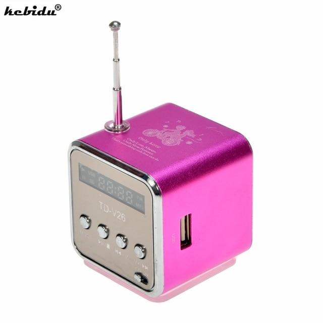 Kebidu נייד מיני סטריאו סופר בס רמקול דיבורית מגבר סאב רדיו FM USB מיקרו SD TF כרטיס MP3 נגן TD V26