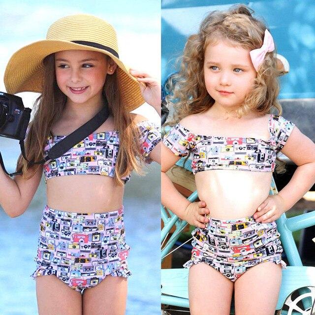 Newborn Toddler Kids Baby Girl Off Shoulder Camera Print High Waisted  Swimwear Swimsuit Bathing Beach Bikini