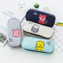 1Pcs Kawaii Pencil Case Canvas Stationery Box High-capacity pencil bag office & school supplies Stationery for school kawaii bag tunacoco japanese kokuyo pc 102 ssort dupont paper pencil bag pencil case kawaii pencil box school office supplies bd1710032
