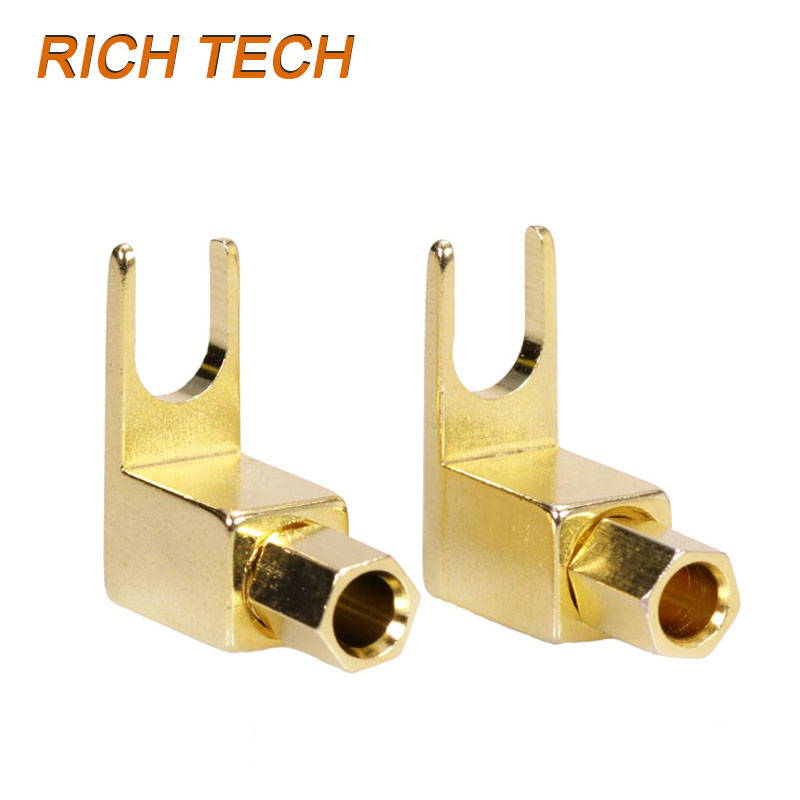 4pcs 4mm Banana Plug Jack Solderless Speaker Connectors Binding Post Gold Plated