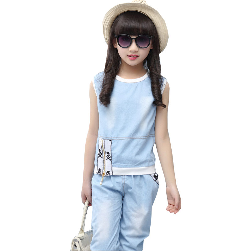 kids 2018 summer girls sleeveless cowboy suit children' s zipper two - piece suit coat + trousers