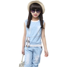 купить Children 's 2017 summer girls sleeveless cowboy suit children' s zipper two - piece suit coat + trousers дешево