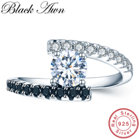 BLACK AWN 925 Sterling Silver Jewelry Stone Topaz Wedding Rings For Women Engagement Ring Femme
