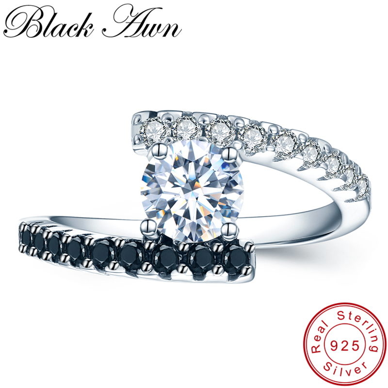 [BLACK AWN] Vintage 2.9g 925 Sterling Silver Rings Fine Jewelry Black Spinel Wedding Rings for Women Femme Bijoux Bague C011 vintage cute 925 sterling silver clover cross 7a natural moonstone rings for women wedding engagement jewelry finger bague aneis