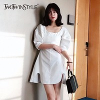 TWOTWINSTYLE Puff Sleeve Dress For Women Tunic High Waist Slim Split Irregilar A Line Mini Dress 2018 Summer Vintage OL Clothing