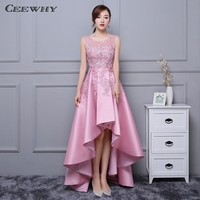 CEEWHY Candy Color Asymmetrical Evening Dress Lace Satin Dress Long Elegant Formal Party Dress Evening Gown Black Pink Burgundy