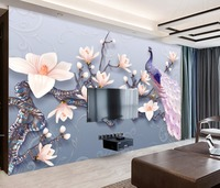 Bacaz Custom Wallpaper 3D Stereoscopic Embossed Orchid Peacock Europe Abstract Art Wall Mural Living Room Bedroom Wallpaper