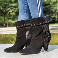 women`s fashion winter High heeled boots Woman autumn suede fringe ankle tassel boots casual genuine leather shoes cowboy boots