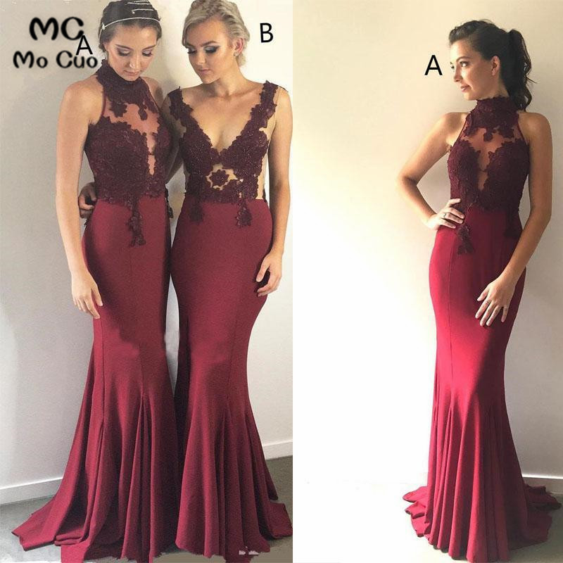 2019 Mismatched Burgundy Mermaid Cheap Long   Bridesmaid     Dresses   Formal Wedding Party   Dress   Elastic Satin Women   Bridesmaid     Dress