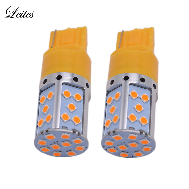 Leites 2pcs T20 7440 W21W 3030 35SMD Canbus LED Bulb Lamp Brake Light Tail Rear Lights Turning Signal 12V 24V Amber Yellow car styling tail lights for toyota highlander 2015 led tail lamp rear trunk lamp cover drl signal brake reverse