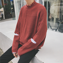 Inverno 2017 Autumn Winter New Pattern False Twinset Sweater Men Warm Male Agasalho Harajuku Character Hole Pullover Masculino