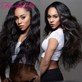 Best quality Lace Front long Wavy wigs for black women 200 density virgin Malaysian human hair Full Lace wig Free shipping