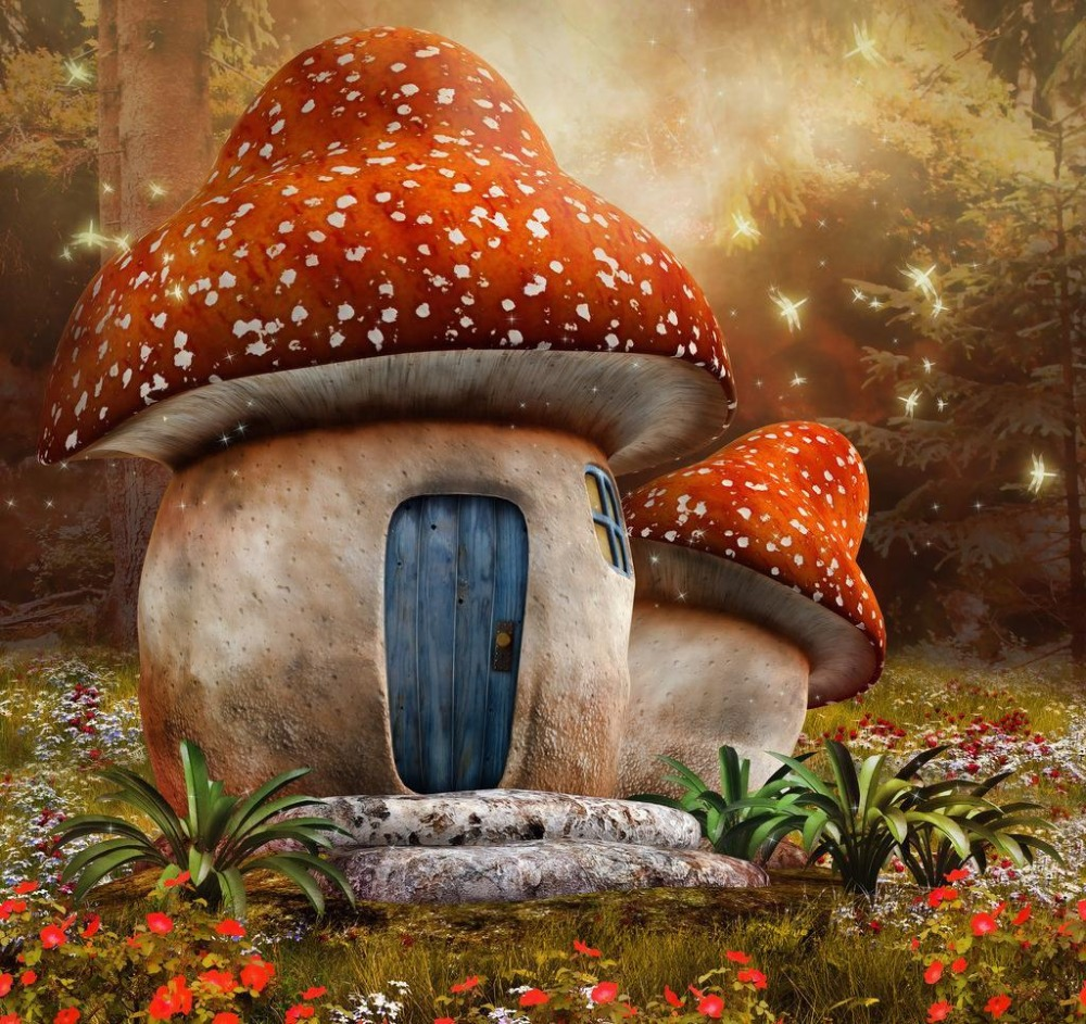 Fairy Tale 5*7ft  Mushroom Hourse in Forest Newborn Baby Photo Backdrops Background Studio Custom Background for Kids Photos free shipping 100% tested 583079 001 for hp 4410s 4510s laptop motherboard with for intel gm45 chipset ddr3