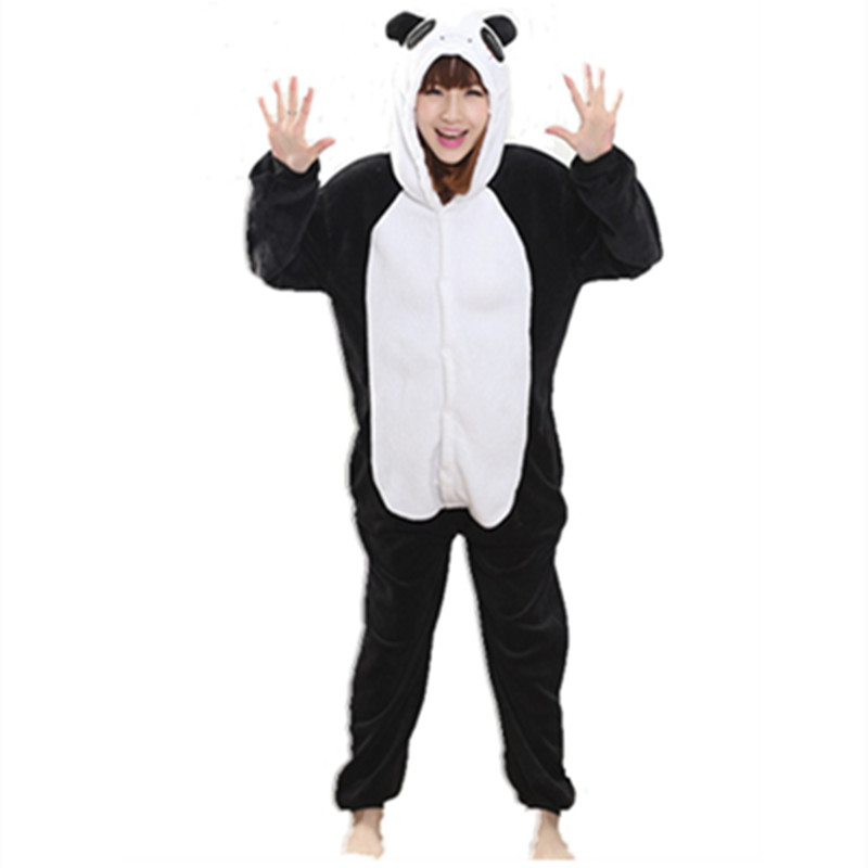 Flannel Anime Cartoon Panda Cosplay Adult Unisex Cosplay Animal Cute Onesies Animal Pajamas Halloween animal nonopanda Sleepwear