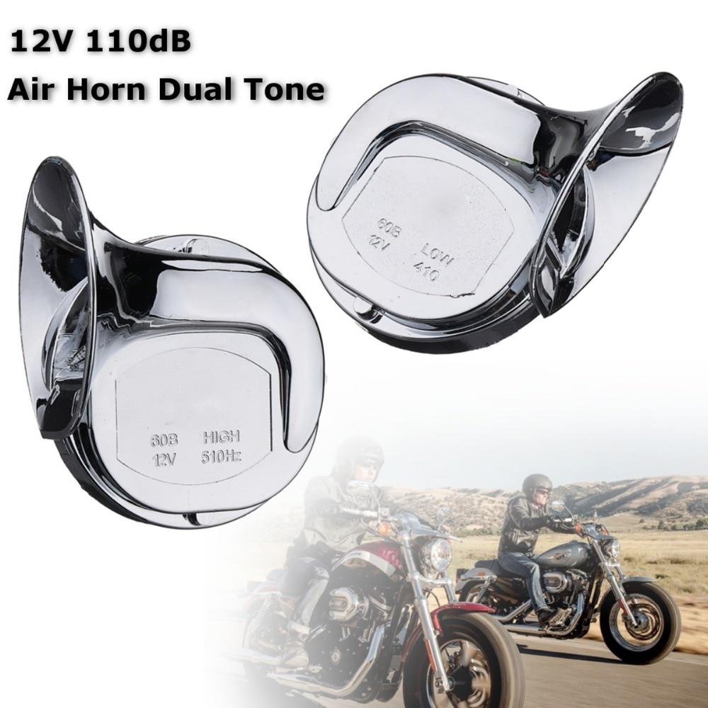 Pair New Design12V 110dB Universal Loud Sound Air Snail Chrome Dual Horn For Car Van Motorcycle